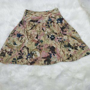 Chico's Fit & Flared Floral Silk Skirt